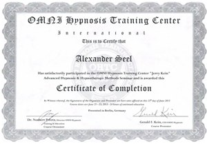 Certificate Gerald Kein Hypnotherapy OMNI Hypnosis Trainings Center