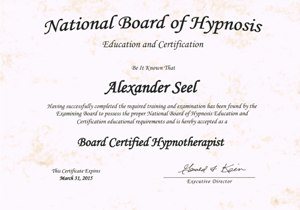 Certified Hypnotherapist (The National Board of Hypnosis) Hypnotiseur Alexander Seel